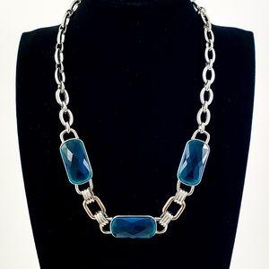 Anne Klein Statement Necklace Teal Glass Stones